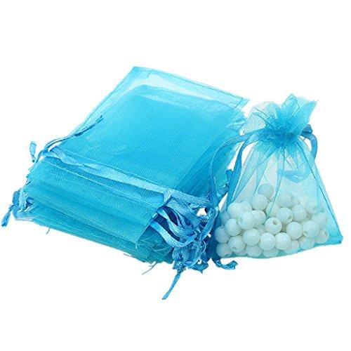 100X Organzabeutel Schmuckbeutel Geschenkbeutel Säckchen Beutel aus Organza - See Blau, /