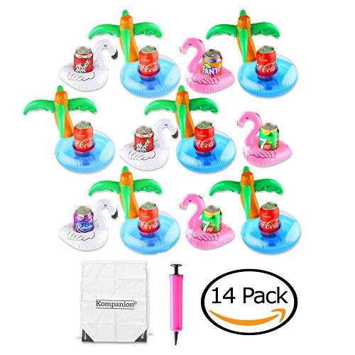 Set da 12 fenicotteri rosa galleggianti porta bevande, cigni bianchi e alberi di palme con pompa manuale e borsa da trasporto con stringhe design vario per decorazione e feste in piscina