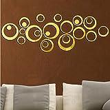Vinilo de pared vintage espejo dorado 24 circulos decoracion salon, dormitorio..