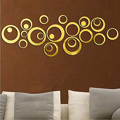 vinilo de pared vintage espejo dorado circulos decoracion salon dormitorio