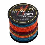 Hercules PE Dyneema Superline geflochtene Angelschnur, 500m Angelschnur 10lb-300lb, 8-fach, Herren, mehrfarbig, 50lb/22.7kg 0.37mm