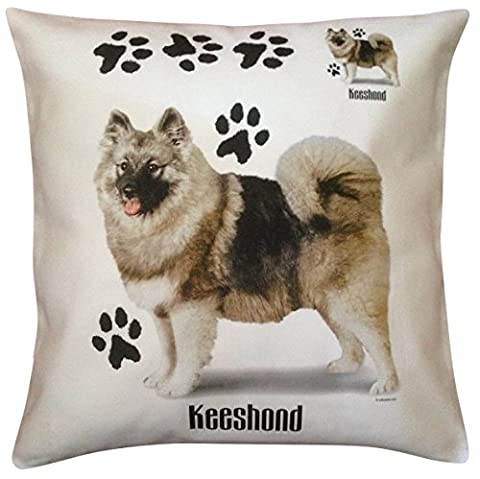 Keeshond Paws Breed of Dog Cotton Cushion Cover - Choice of Cream or White - Perfect Gift (White)