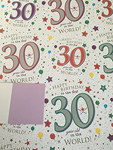 Age 30 30th Wrapping Paper Happy Birthday To The Best 30 Year Old In The World 2 Sheets + 1 Gift