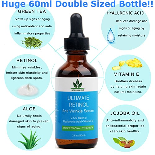 Retinol Serum DOPPELTE GRÖSSE 60ML! - 2,5% Retinol, Vitamin E, Hyaluronsäure & Bio-Jojobaöl - Bestes Anti-Aging-Serum für Gesicht, Nacken & Augen