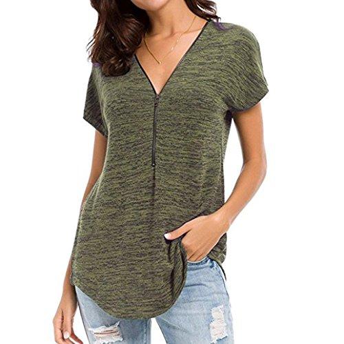 VJGOAL Damen T-Shirt, Damen Mode Kurzarm Lose Beiläufige Knopf Bluse Mädchen Sommer Tank Tops (2XL / 48, F-grün)