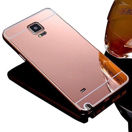 Sunroyal für Samsung Galaxy Note 4 N9100 SM-N910 Luxus Schutzhülle Spiegel Mirror Effect - Aluminium Rahmen PC Zurück Rückseite Bumper Case Metal Hülle Alu Metal Schutz Mirror Chrom Cover Ultra Slim Handy Tasche, Rose Gold