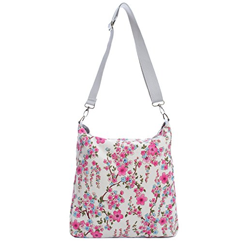 Florence Happy @ England - Borsa a tracolla reversibile messaggero, in tela, chiusura a zip, motivo con rose e gufi Cherry Blossom