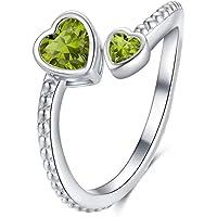 Qings Anello Cuore Regolabile Donna, Birthstone Ring, Argento 925, Anello Aperto, Regalo di Compleanno per Donne Mamma…