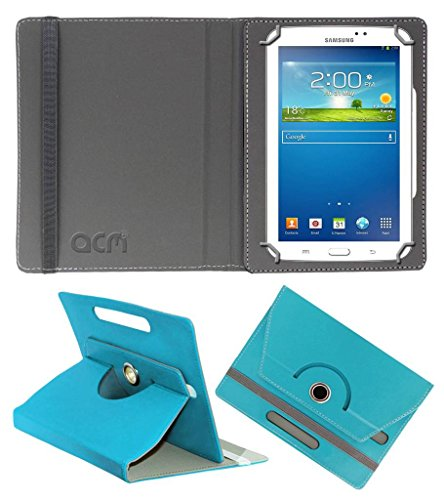 Acm Rotating Leather Flip Case for Samsung Galaxy Tab 3 Sm T211 Tablet Cover Stand Greenish Blue  available at amazon for Rs.149
