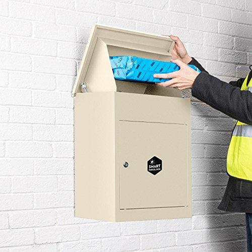 Homescapes Paketbriefkasten aus verzinktem Stahl mit Barcodescannung & Rückholsperre, Smart Parcel Box Medium, Hochglanz Creme, 44 x 35 x 58cm