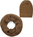 styleBREAKER set di sciarpa scaldacollo e berretto in maglia traforata, sciarpa e berretto in maglia, invernali, unisex 01018210, colore:Cognac