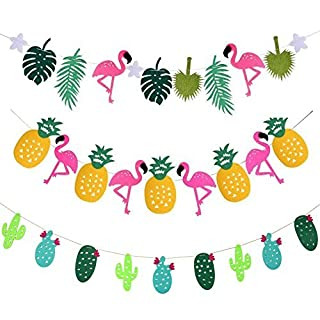 Party Banner Decoration astarye Flamingo Pineapple Tropical Leaves Banner Happy Birthday Garland Banner For Luau Hawaiian Summer Beach Party Supplies 3 Pack