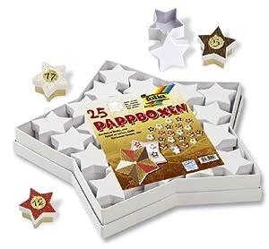 Folia 32500 - Caja de cartón en forma de estrellas con 25 cajas pequeñas de estrellas color blanco Importado de Alemania