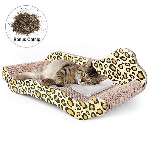 PrimePets Kratzliege für Katzen, Wellpappe, Kratzbett, wendbar, mit Katzenminze, Kratzbaum