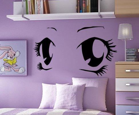 Autocollant mural, adhésif mural Illustration paire d'yeux façon manga, rose, 77cmx44cm