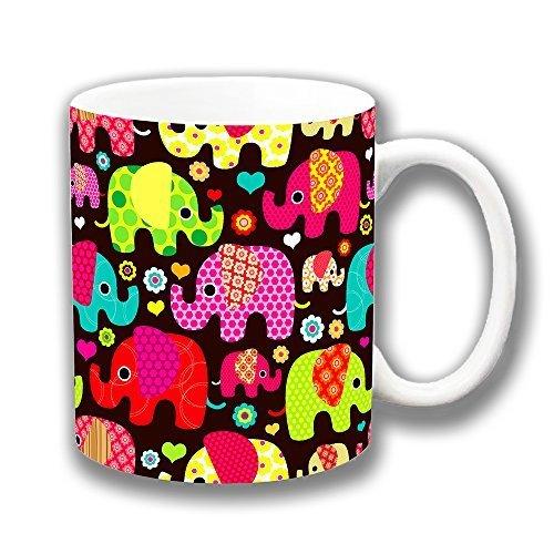Novedad Estampado Elefantes Brillo Varios colores marrón cerámica taza de café regalo original