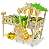 WICKEY Kinderbett CrAzY Hutty Hochbett mit Dach Abenteuerbett mit Lattenboden, apfelgrün-gelb, 90x200 cm