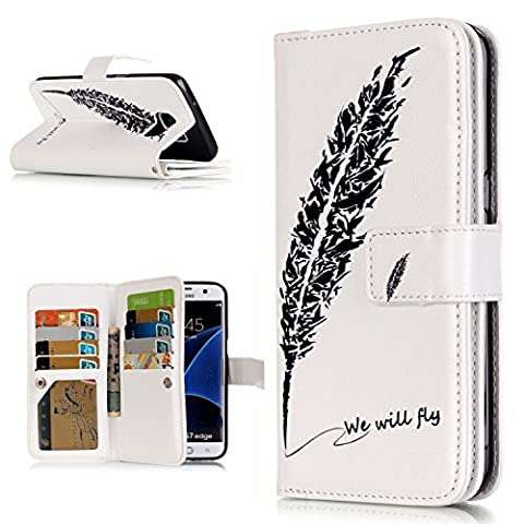 Samsung Galaxy S7 edge Case Leather, Ecoway 3D painted reliefs Embossed PU Leather Stand Function Protective Cases Covers with 9 Card Slot Holder Wallet Book Design for Samsung Galaxy S7 edge - Quill pen