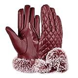 Vbiger guanti touch screen calda inverno Usura delle donne con fodera in pile, adatto per gli sport esterni (Rosso)