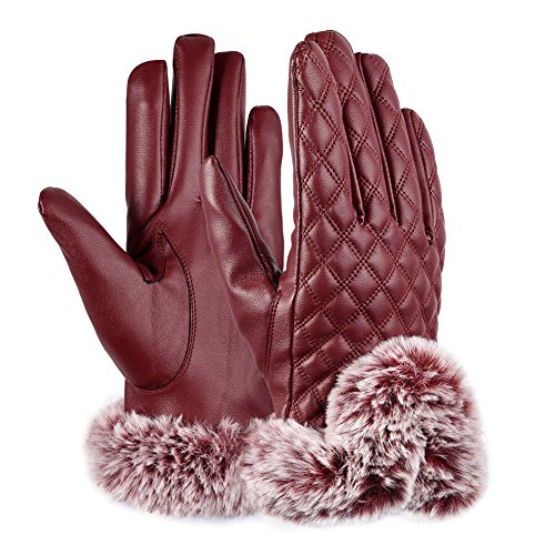 Vbiger TouchscreenHandschuhe Outdoor Handschuhe für Damen (Leder-wolle-handschuhe)