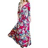 VEMOW heißer Verkauf Sommer Herbst Neue Mode Damen Camisole Langarm V-Ausschnitt beiläufige tägliche Partei Strand Mini Dress Button Mode Kleid(Rot, EU-48/CN-S)