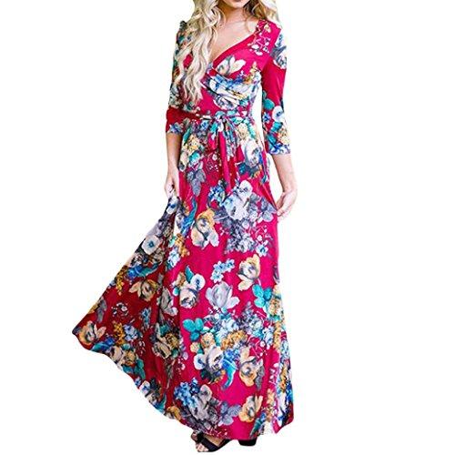 350928b532c9 VEMOW heißer Sommer Herbst Damen Camisole Langarm V-Ausschnitt beiläufige  tägliche Partei Strand Mini Dress Button Mode Kleid(Rot, EU-54 CN-XXL)