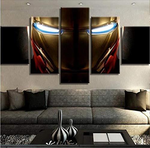 unità di Stampa HD 5 Pezzi su Tela Iron Man Marvel Poster del Film Dipinti su Tela Wall Art per La Casa con Cornici Stampe E Quadri su Tela