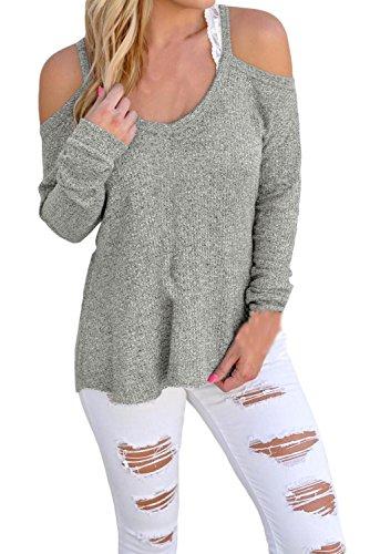 Fempool Schoulder-Cut-Out Pullover für Damen, gehäkelter Strickpullover, lange Ärmel Gr. M, grau (Cowl Metallic Neck)