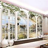 XZDXR Benutzerdefinierte 3D Stereo Fenster Ansichten Garten Pool Fototapete Wohnzimmer Schlafzimmer Landschaft Dekoration, 315X232Cm
