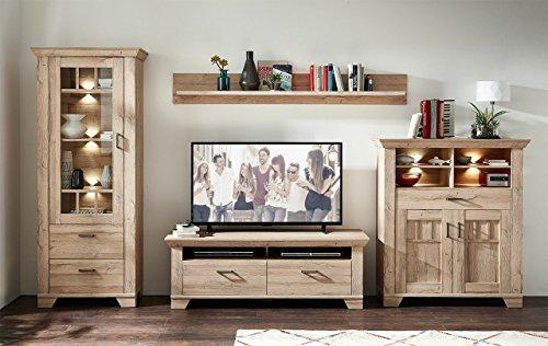 Wohnzimmerschrank, Wohnwand, Schrankwand, Anbauwand, Fernsehwand, Wohnzimmerschrankwand, Wohnschrank, Gran, Oak, Eiche, Beleuchtung
