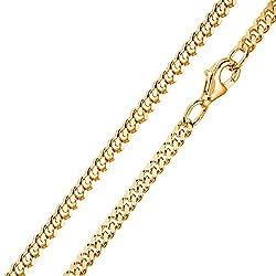 MATERIA 3mm Panzerkette Silber 925 vergoldet diamantiert Gold Halskette Herren Damen 40-80cm mit Box #K70, Länge Halskette:50 cm