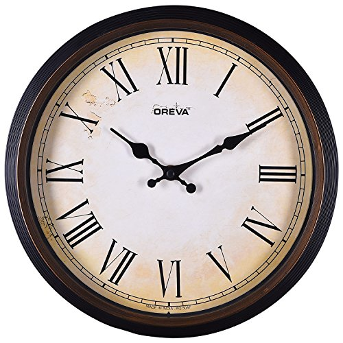 Ajanta Oreva Ajanta Quartz Wooden Finished Plastic Round Shape Wall Clock
