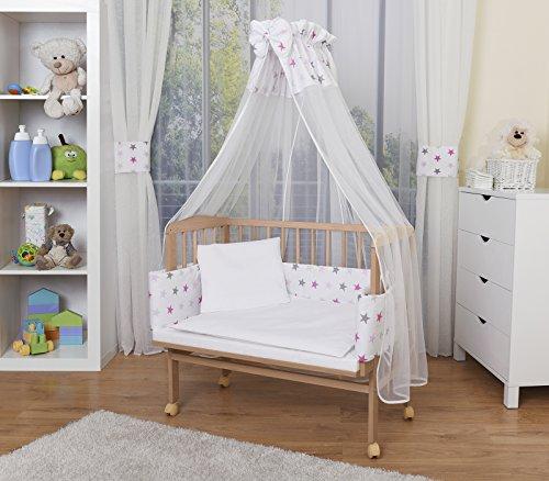 WALDIN Baby Beistellbett mit Matratze und Nestchen, höhen-verstellbar, 16 Modelle wählbar, Buche Massiv-Holz natur unbehandelt,Sterne/grau (Kinder-möbel-schlafzimmer-set)