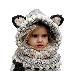 Idea Regalo - Cappello del fumetto di stile, Sunroyal Inverno a maglia di lana Berretti Fox Cappelli neonate scialli Cappello autunno e inverno sciarpa a maglia protezione del bambino con un cappello(Grigio)