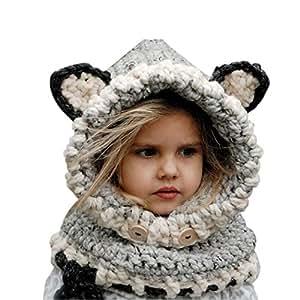Cappello del fumetto di stile, Sunroyal Inverno a maglia di lana Berretti Fox Cappelli neonate scialli Cappello autunno e inverno sciarpa a maglia protezione del bambino con un cappello(Grigio)