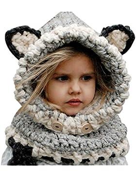 Cappello del fumetto di stile, Sunroyal Inverno a maglia di lana Berretti Fox Cappelli neonate scialli Cappello...