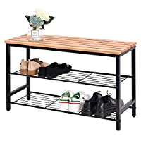 Hododou 3 Tier Shoe Rack Bench Shoe Storage Organizer with Seat Wood Top with Metal Frame for Hallway Living Room 80cm Black