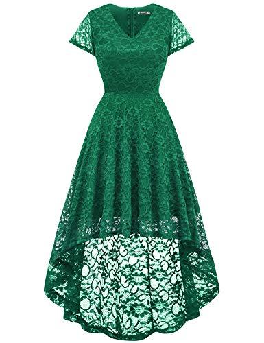 bbonlinedress Damen Elegant Spitzenkleid Kurzarm Cocktail Rockabilly Party Hi-Lo Kleid Green L