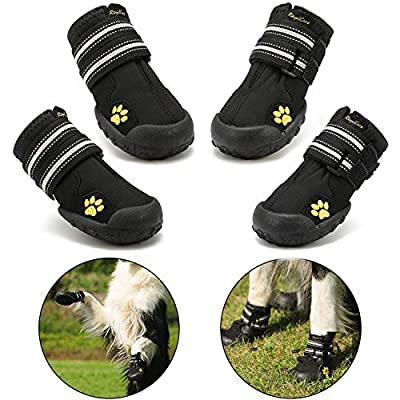 Protective Dog Boots, Royalcare Set of 4 Waterproof Dog Shoes for Medium and Large Dogs - Black from Royalcare