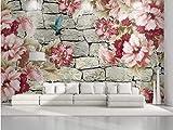 BHXINGMU Benutzerdefinierte Wandbilder Fototapeten Blumen Und 3D-Steinwände Großes Schlafzimmer Wohnzimmer Dekoration Aufkleber 240Cm(H)×330Cm(W)