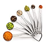 Flower205 - Juego de cucharas medidoras redondas de acero inoxidable (7 piezas)