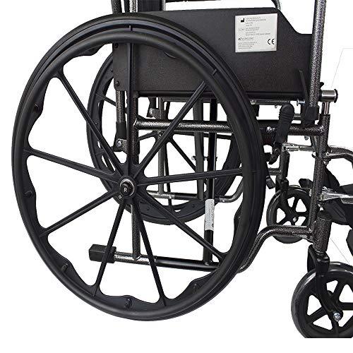 51D73axMS7L - Mobiclinic, Silla de ruedas premium, Plegable, Ruedas traseras grandes extraíbles, Reposapiés y reposabrazos, Asiento de 46 centímetros, S220 Sevilla