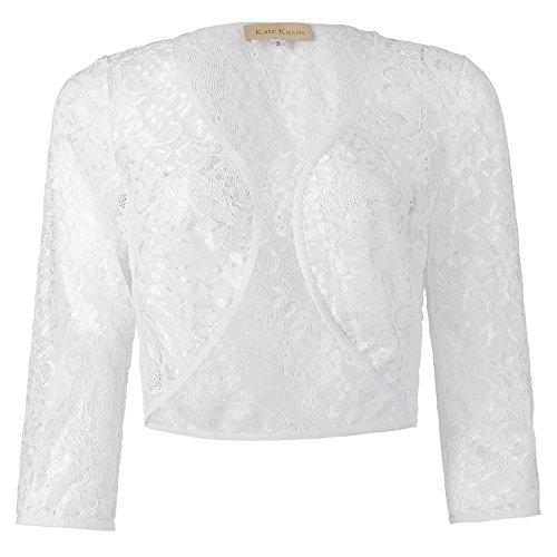 Frauen Spitze Elegant 3/4 Ärmel Bolero Top Jacke Shrugs Brautjacke Weiß XXXL KK430-2