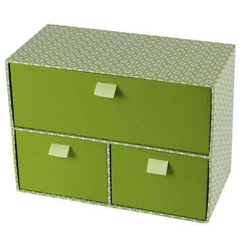 JVL grün Retro Schmuck Schlafzimmer Make-up Aufbewahrungsboxen Ordner Bin, Pappe, grün, Wide 3 Drawer Storage Box (Premium Box-grün Storage)