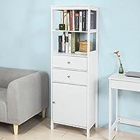 SoBuy® Estanteriá en escalera ,Librería , 4 áreas ,2 cajones y 1 puerta de almacenamiento,blanco,FRG252-W,ES