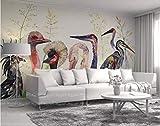 HONGYUANZHANG Abstraktes Vogeltier Tapete Des Foto-3D Künstlerische Landschafts-Fernsehhintergrund-Tapete,80Inch (H) X 112Inch (W)