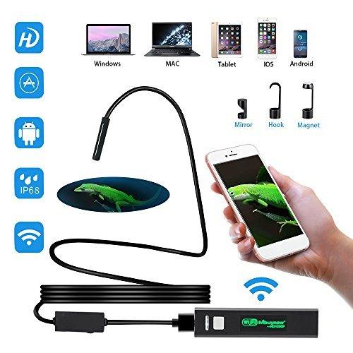 WiFi Endoskop, Mbuynow Kabellos Endoskopkamera Inspektionskamera mit 8 verstellbare LED 5 M Kabel 1200P HD Bild für Android & IOS Smartphone, iPhone