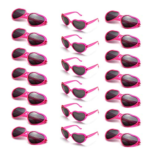 y Favors Herzförmige Sonnenbrille UV400 Schutz für Damen Herren (20er-Pack Helles Pink) ()