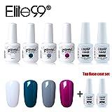 Elite99 UV LED Nagellack set uv gel shellac set sock off gel peer off nagellack uv farbgel gel matt nagellack polish 4 Flasche je 15ML Base Top Coat Set