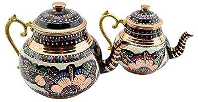 Copperbull faite à la main peint à la main en cuivre double Théière avec poignée de laiton, 3quart